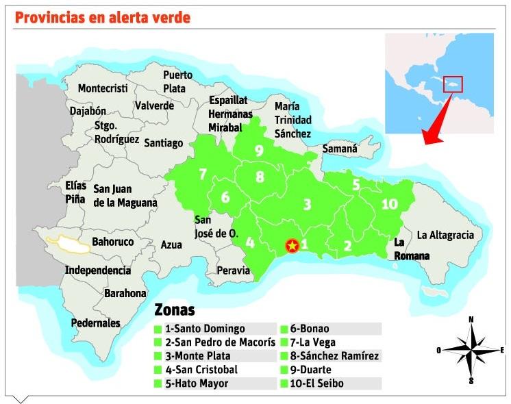 Onda tropical provocará lluvias y diez provincias en alertaverde
