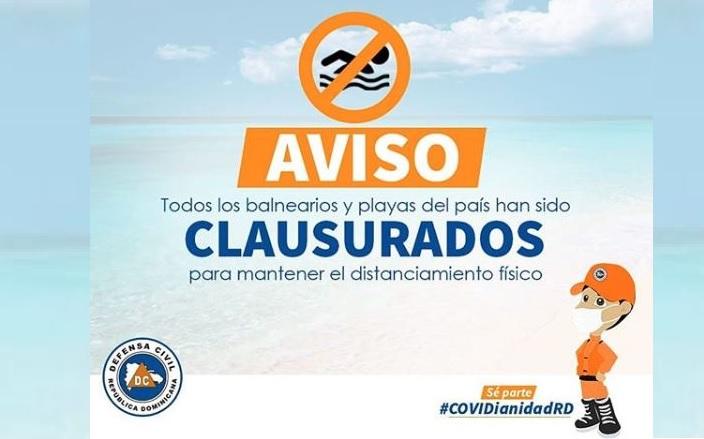 Cierre playas y balnearios de RD entra en vigencia este lunes, confima laDC