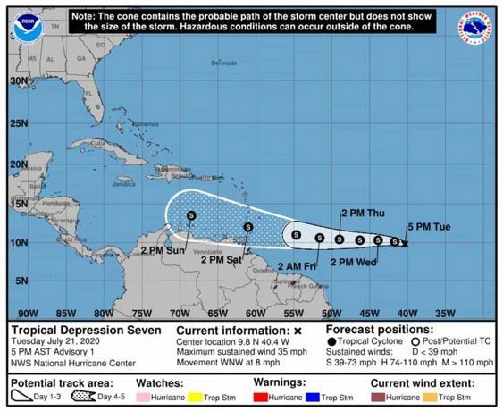 Depresión tropical se forma en el Atlánticocentral