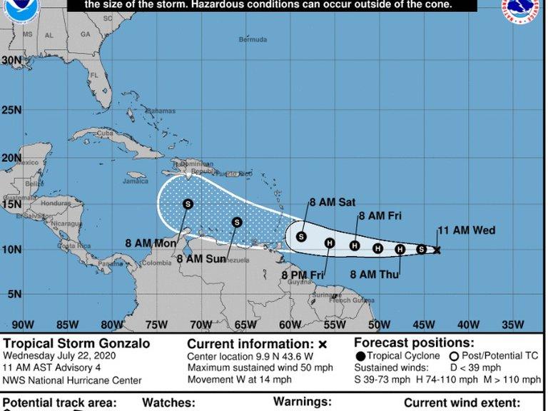 """Tormenta tropical """"Gonzalo"""" se forma hoy; amenaza región delCaribe"""
