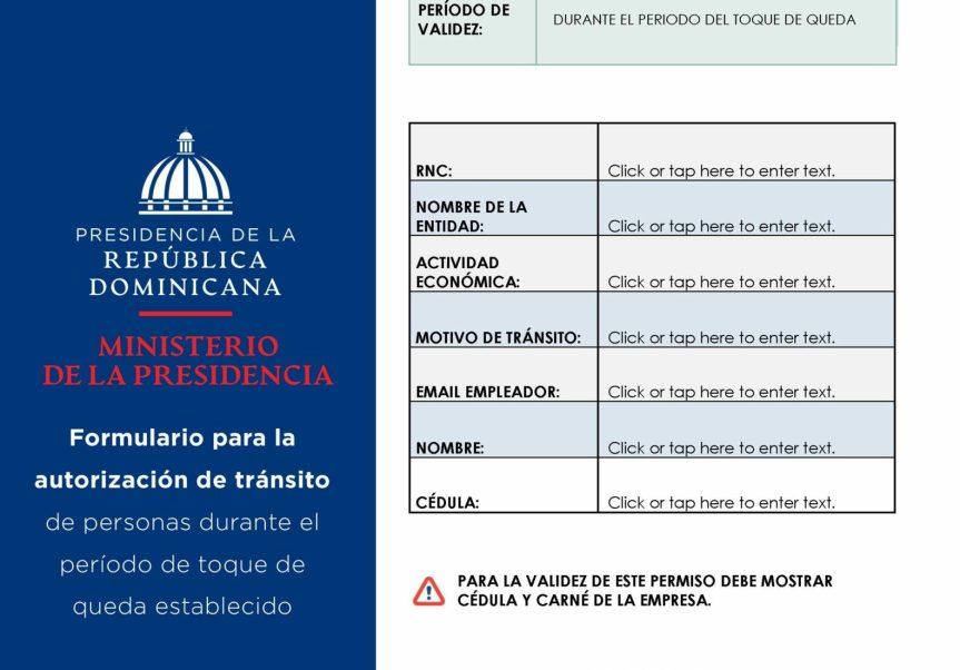 Ministerio de la Presidencia emitirá nuevos permisos para circular en toque dequeda